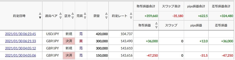 副業FXで失敗した1月収支